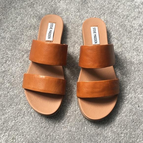 b183bb0d90ce Steve Madden Judy cognac lea sandals